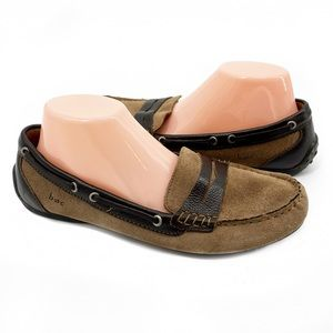 Born BOC Leather Suede Tan Brown Loafers Size 9.5